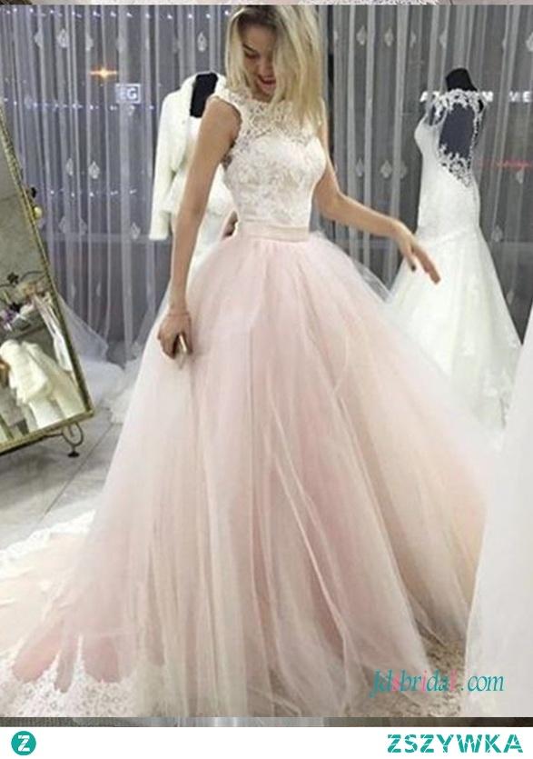 Różowo-białe # ballgown #weddingdress Model: H0689 (Darmowa wysyłka na cały świat)