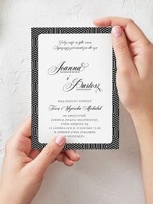Zaproszenia Ślub geometryczne czerń Personalizac