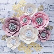 Kwiaty 3 d na ścianę, papaierowe kwiaty, róże na ścianę, dekoracje ślub, kwia...