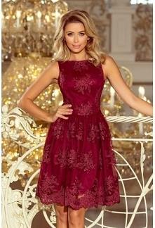 Bordo sukienka z haftowanej...