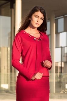 Czerwona bluza damska z ozd...