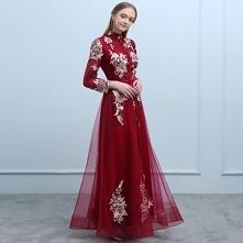 Chiński Styl Burgund Sukien...