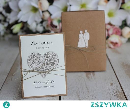 Rustykalna kartka ślubna w pudełku