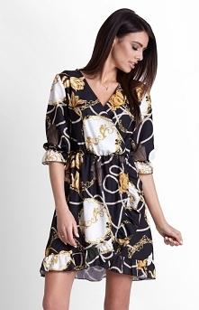 IVON luźna wzorzysta sukien...