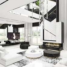 Piękny kominek w wysokim wnętrzu z antresolą | TURN-UP FOR THE BOOKS | Wnętrza domu