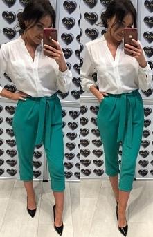 Lola Fashion eleganckie spodnie zielone 7/8