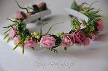 Wianek ślubny różowy, opask...