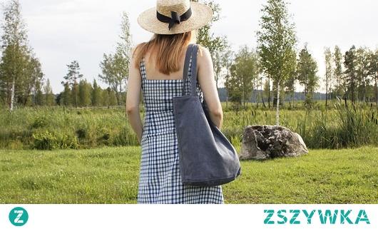 Shopper bag XL granatowa torba z grubej bawełny