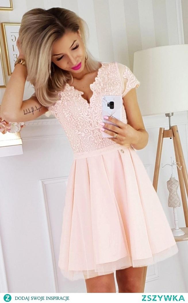 Bicotone brzoskwiniowa koronkowa sukienka z tiulem 2180-17