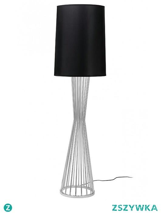Lampa Podłogowa Holm Chrom z Czarnym Kloszem