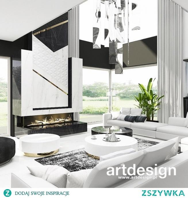Projekt wnętrz domu z antresolą - jasne, eleganckie wnętrze w bieli, czerni i złocie | TURN-UP FOR THE BOOKS | Wnętrza domu
