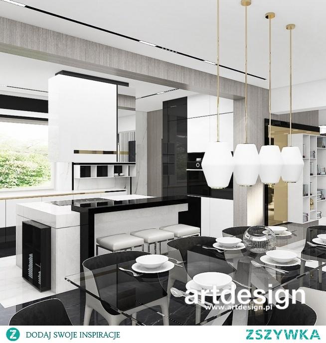 Projekt nowoczesnej kuchni i jadalni   TURN-UP FOR THE BOOKS   Wnętrza domu
