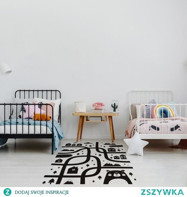 Naklejka na podłogę imitująca ulice to doskonała opcja do dziecięcego pokoju - nie tylko udekoruje wnętrze, ale też zapewni doskonałą zabawę  Myloview: Naklejka miejska ulica, nr. 166640070