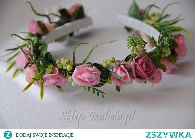 Wianek ślubny różowy, opaska dla Panny Młodej lub dla małych druhenek na ślub wesele