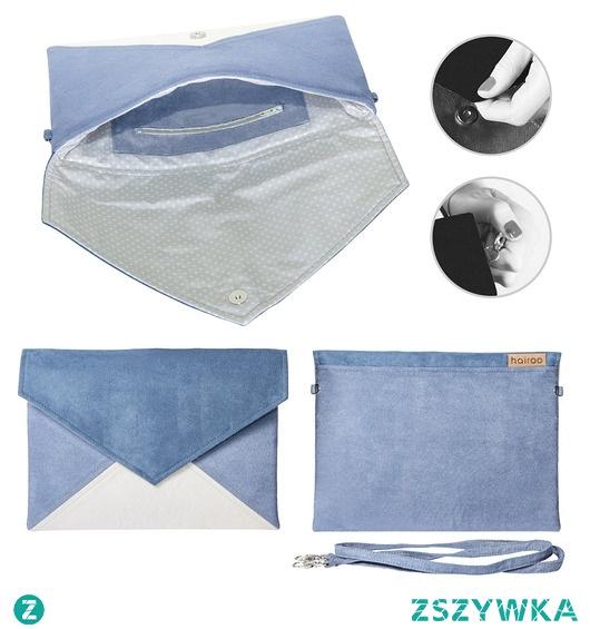 Kopertówka Letter granatowa niebieska ecru