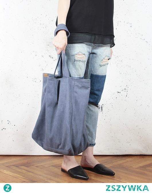 Lazy bag torba ciemnoniebieska na zamek / vegan