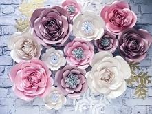Kwiaty na ścianę, ścianka kwiatowa, duże kwiaty z papieru, kwiaty na ślub, kw...