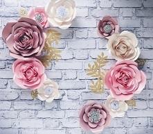Kwiaty na ścianę, ścianka kwiatowa, duże kwiaty z papieru, kwiaty na ślub, kwiaty do kościoła, dekoracje na przyjęcia, dekoracje na eventy