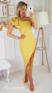 Cytrynowa sukienka na wesel...