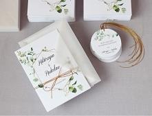 zaproszenia ślubne eukaliptus eleganckie i delikatne