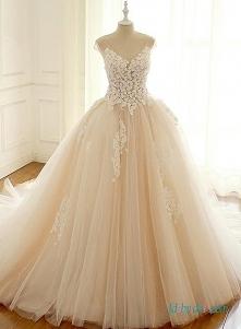 Piękny szampański kolor # ballgown #weddingdress Model: H0651 (Darmowa wysyłka na cały świat) Wyszukaj w witrynie numer modelu, link w bio