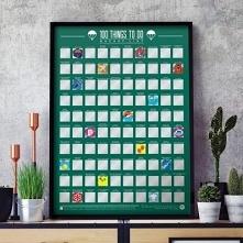 Plakat Zdrapka Bucket List 100 rzeczy do zrobienia przed śmiercią