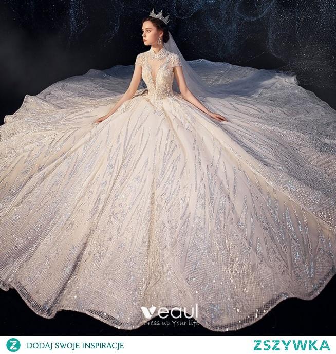 Błyszczące Szampan Przezroczyste Suknie Ślubne 2019
