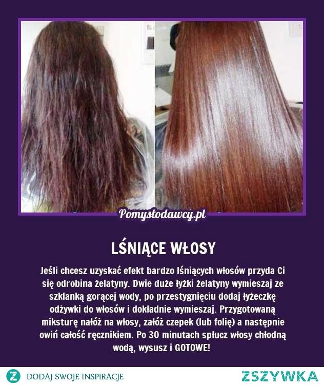 Żelatyna i efekt lśniących włosów. Dzisiaj będę próbowała ! :)