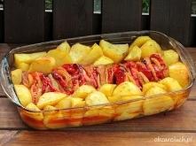 Schab pieczony z papryką i ziemniakami