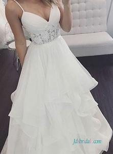 Piękne spaghetti ramiączka organza #ballgown #weddingdress Model: H0634 (Darmowa wysyłka na cały świat) Wyszukaj w witrynie numer modelu, link w bio