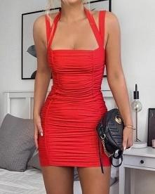 red dress, Gucci bag