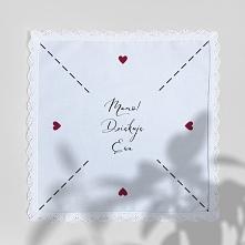 personalizowana chusteczka z koronką - podziękowanie dla mamy lub świadkowej