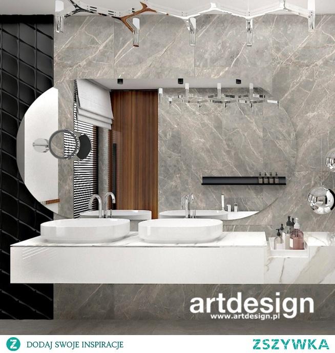 Nowoczesna łazienka. Dynamiczna kompozycja eleganckich, oryginalnych materiałów tworzy niezwykły efekt.
