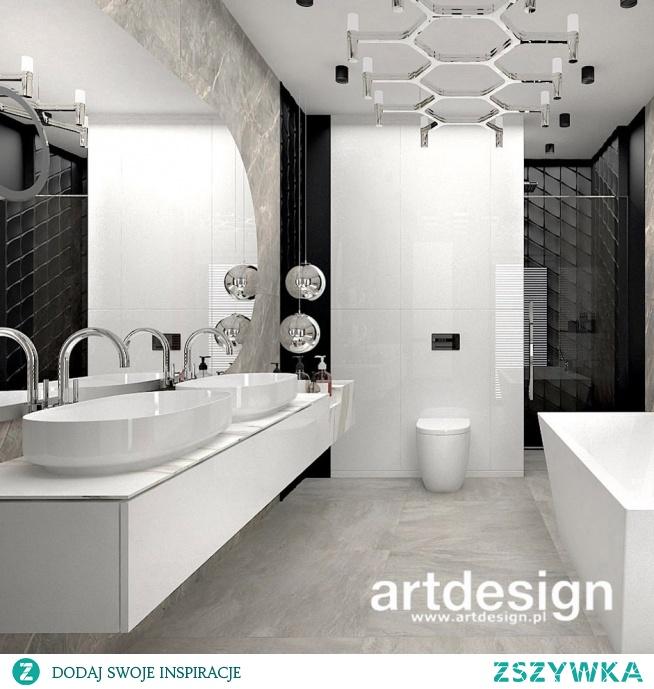 Nowoczesny projekt łazienki - eleganckie i wyraziste wnętrze z pięknymi materiałami i designerskim wyposażeniem | SPIRIT OF ADVENTURE | Wnętrza apartamentu