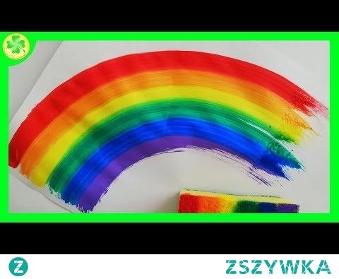 Tęcza malowana gąbką / Rainbow Sponge Painting
