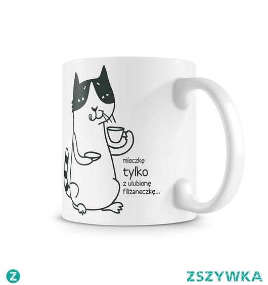 kubek. kotek i mleczkę