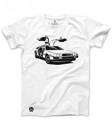 Biała koszulka DELOREAN