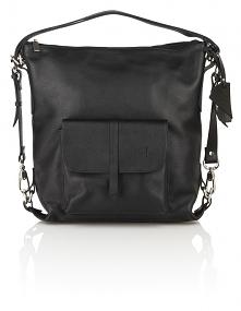 Skórzany czarny torebko-plecak