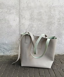Shopper Bag / grey with green