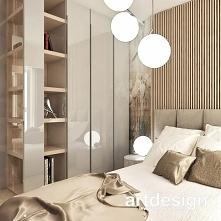 Przytulna sypialnia z ciepłym drewnem, dekoracyjną tapetą, wygodnym łóżkiem i...