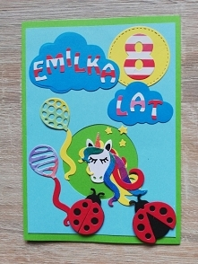 Kartka na 8 urodziny Emilki