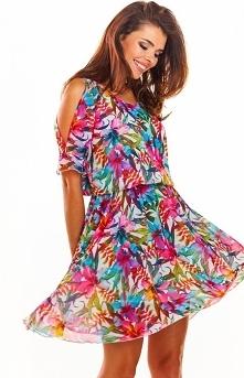 Awama Zwiewna sukienka w kolorowy wzór A295