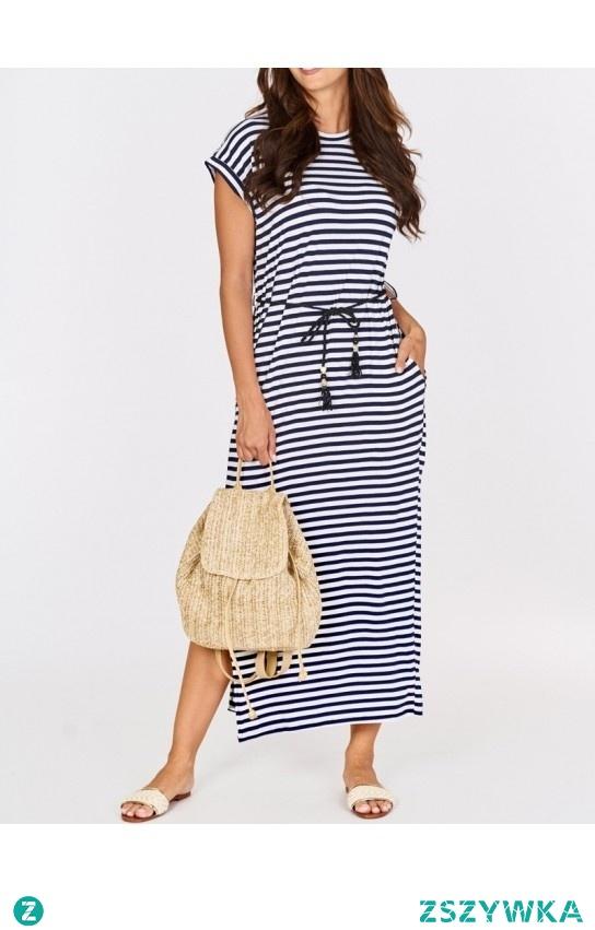Marynarska maxi dress:)