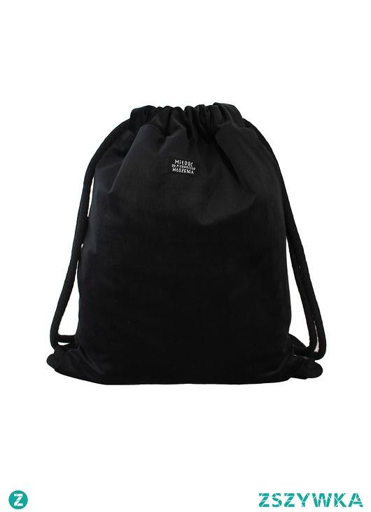 Plecak czarny welur