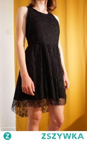 MANGO Koronkowa elegancka sukienka