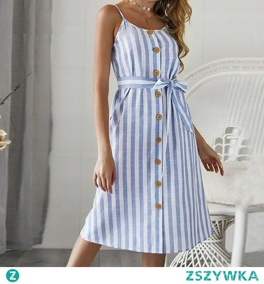 Lekka sukienka w pionowe paski to hit tego lata! Kliknij w zdjęcie i sprawdź, gdzie można ją kupić!