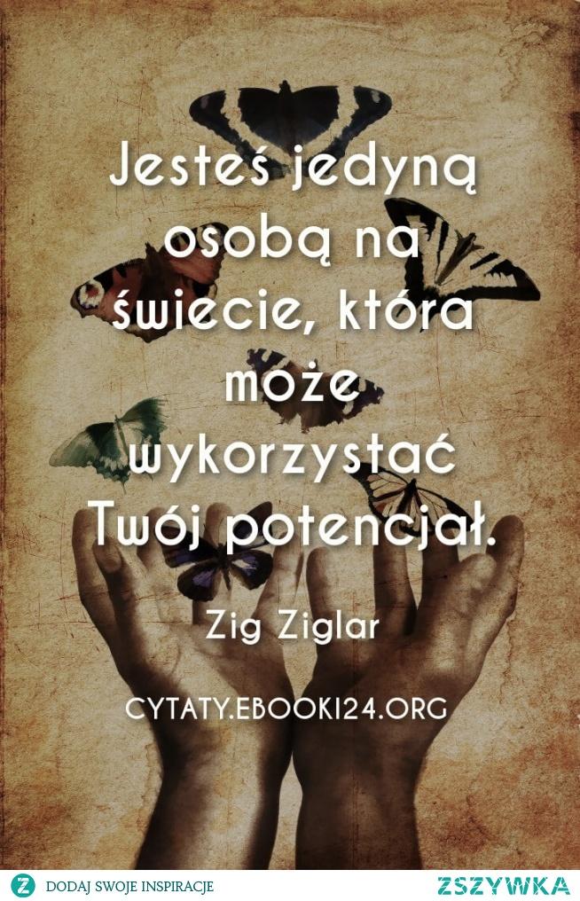 Jesteś jedyną osobą na świecie, która może wykorzystać Twój potencjał.  Zig Ziglar