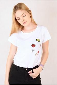 Biały T-Shirt z kolorowymi ...
