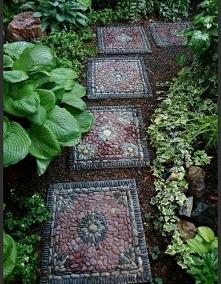 Kamienie, kostka, ogród, płytki, garden
