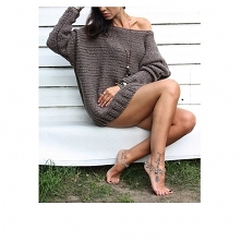 Sweter handmade z wełną  brąz